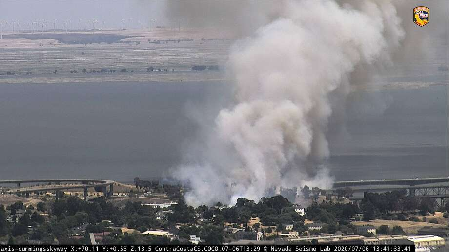 The Clock Tower in Benicia ignited Monday afternoon. Photo: Nevada Seismological Lab Webcam