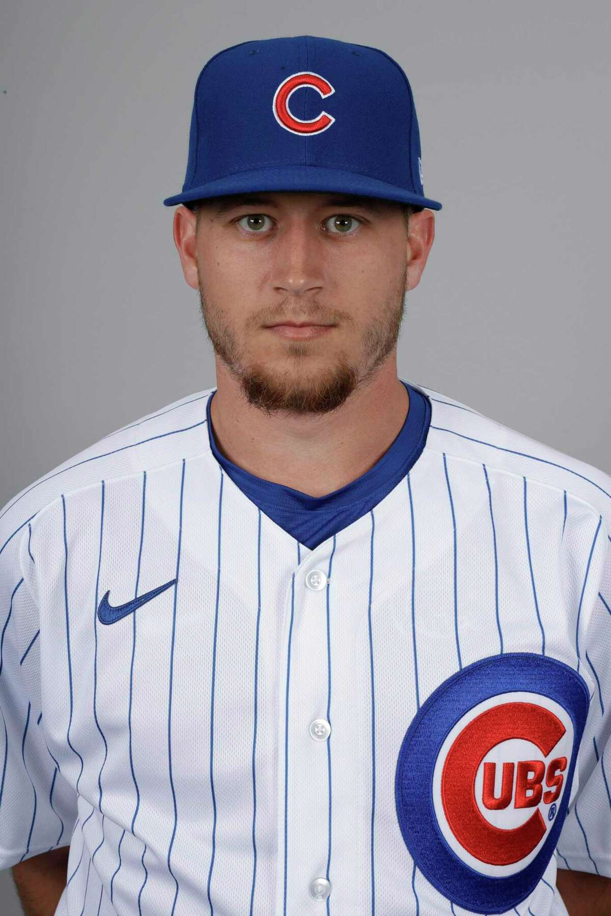 This is a 2020 photo of P.J. Higgins of the Chicago Cubs baseball team. This image reflects the 2020 active roster as of Tuesday, Feb. 18, 2020, when this image was taken in Mesa, Ariz. (AP Photo/Gregory Bull)