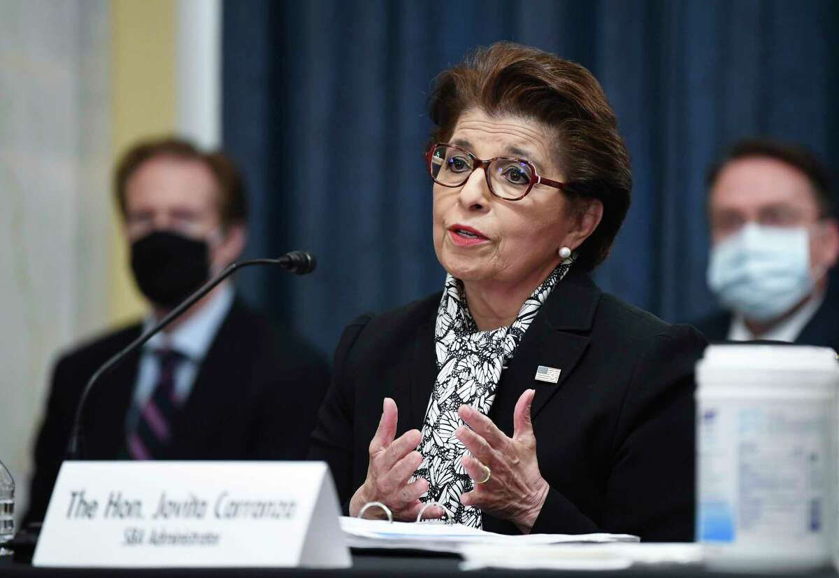 FILE - In this June 10, 2020 file photo, Jovita Carranza, Administrator of the Small Business Administration, testifies during a Senate Small Business and Entrepreneurship hearing to examine implementation of Title I of the CARES Act, on Capitol Hill in Washington. The Treasury Department said it is releasing on Monday, July 6 the names of more than 700,000 companies that received funds from the governmenta€™s small business lending program, a massive effort intended to support the economy as states shut down in April to contain the viral outbreak. (Kevin Dietsch/Pool via AP, File)