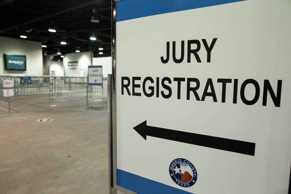 The new way of grand jury selection is set up during the coronavirus pandemic Monday, July 6, 2020, at NRG Arena in Houston.