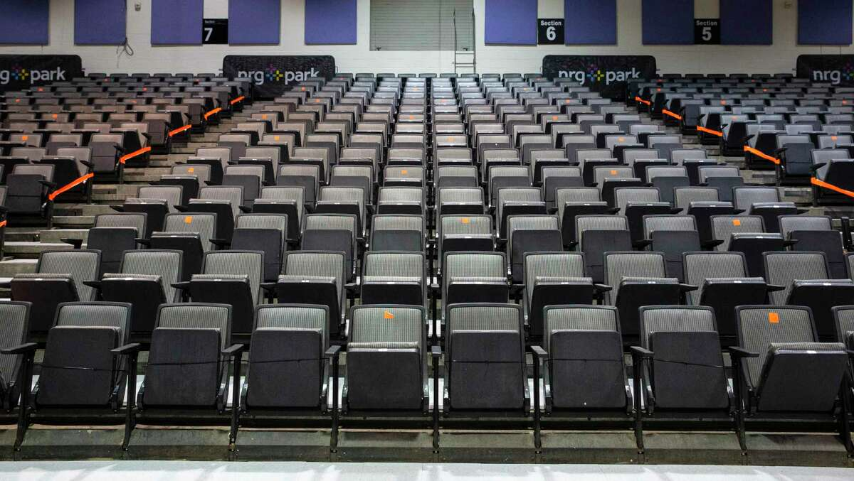 The new way of grand jury voir dire of the selection process is set up during the coronavirus pandemic Monday, July 6, 2020, at NRG Arena in Houston. Jury will be sitting in designated seats that follow the social distancing rules, which is every other row and three seats apart.