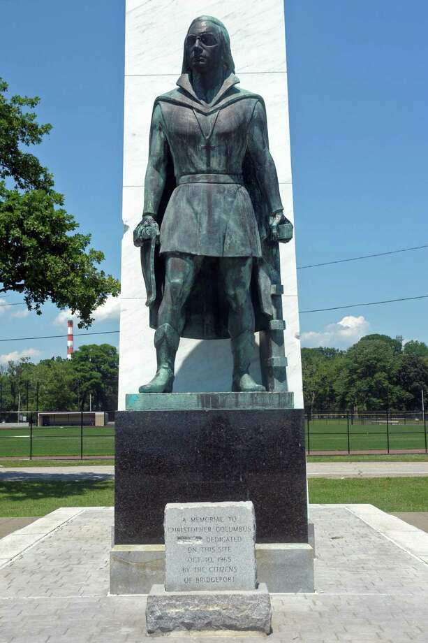 The Christopher Columbus statue in Seaside Park, seen here shortly before 2pm on Monday, July 6. 2020. Photo: Ned Gerard / Hearst Connecticut Media / Connecticut Post