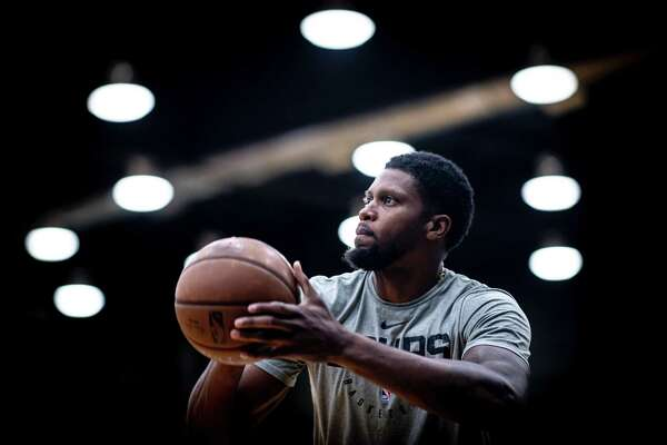 Rudy Gay practices in the Spurs facility on July 3. Gay and the rest of the Spurs will leave for an open-ended trip to Orlando, Florida to restart the NBA season.