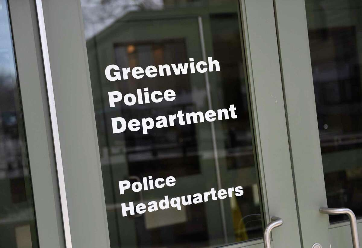 A sign indicates the Greenwich Police Department Headquarters inside the Public Safety Complex in Greenwich, Conn., photographed on Tuesday, April 2, 2019.