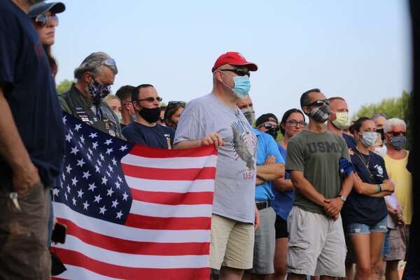 Hundreds gathered at a rally Thursday, July 2, at the Slab to support Shelton police officers.