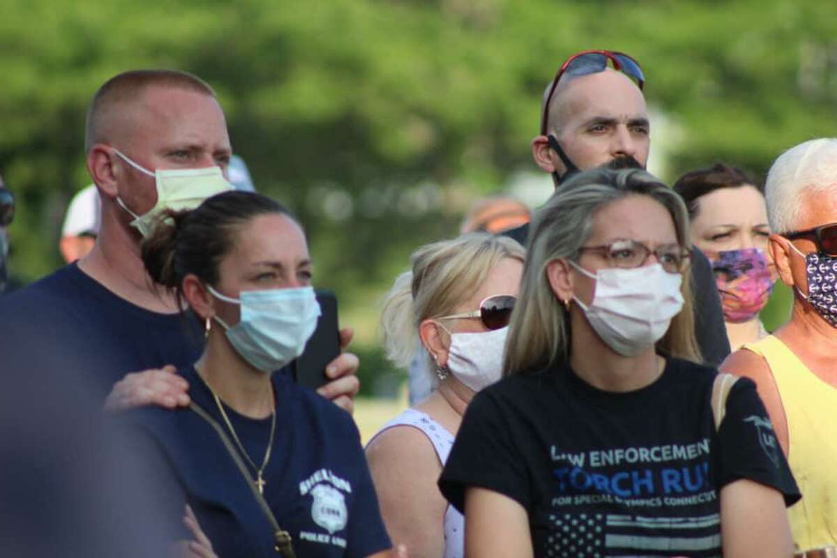 Hundreds gathered at a rally Thursday, July 2, to support Shelton police officers.