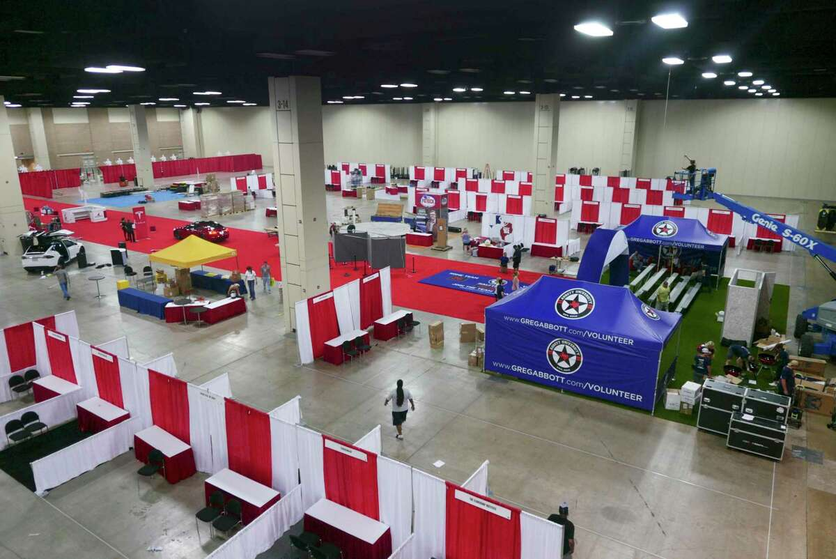 A hall in the Henry B. Gonzalez convention center is being prepared for the opening of Republican Party of Texas state convention on Tuesday, June 12, 2018. The convention runs June 14 through June 16.