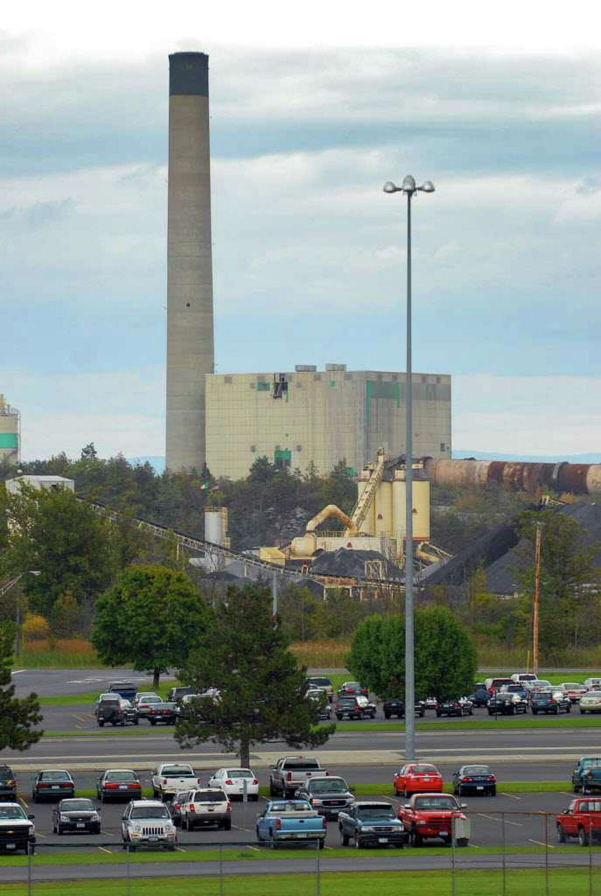The Lafarge plant is across Route 9W from the Ravena-Coeymans-Selkirk high school in Ravena. (Philip Kamrass/Times Union)