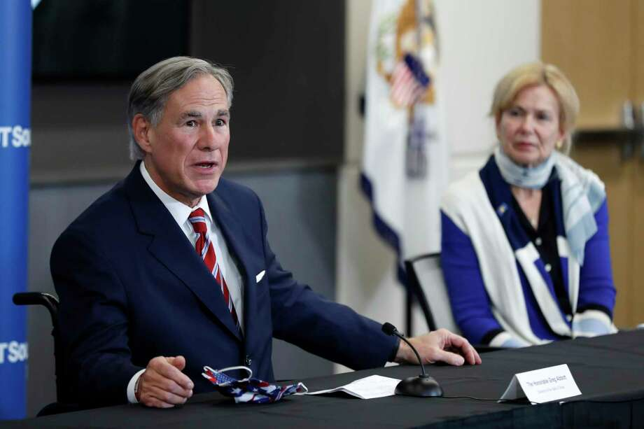 Texas Gov. Greg Abbott responds to a question as Dr. Deborah Birx, White House coronavirus response coordinator, looks on during a news conference after Vice President Mike Pence met with Abbott and members of his healthcare team regarding COVID-19 at the University of Texas Southwestern Medical Center West Campus in Dallas, Sunday, June 28, 2020. (AP Photo/Tony Gutierrez) Photo: Tony Gutierrez, STF / Associated Press / Copyright 2020 The Associated Press. All rights reserved.