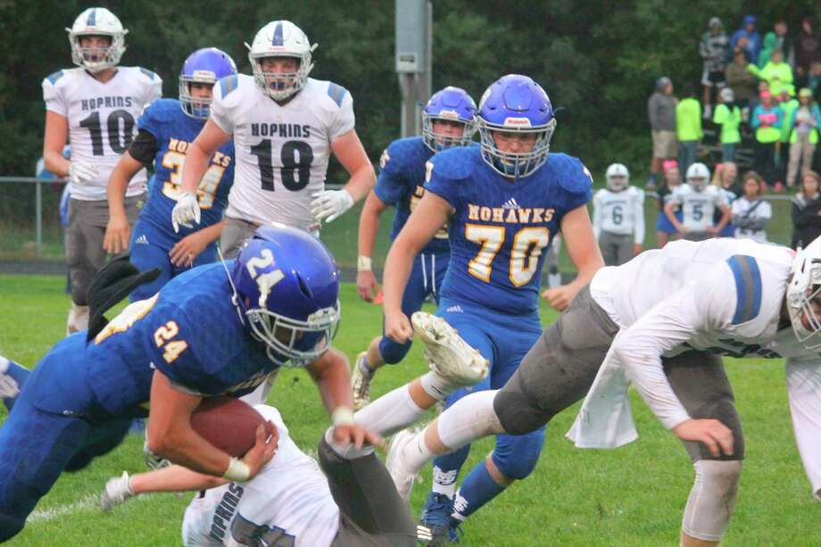 Aiden Puite (70) was a lineman in football and a thrower in track and field for Morley Stanwood. (Pioneer file photo)