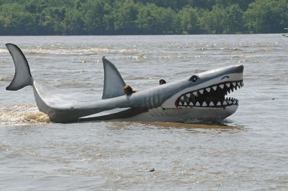 Those enjoying the view this weekend near Grafton had to do a double-take as a shark-themed boat made its way along the river.