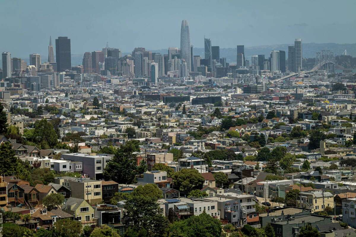 Homes stand in San Francisco on July 2, 2020.