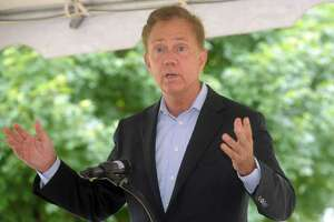 Gov. Ned Lamont speaks during a news conference on the University of Bridgeport campus Tuesday.