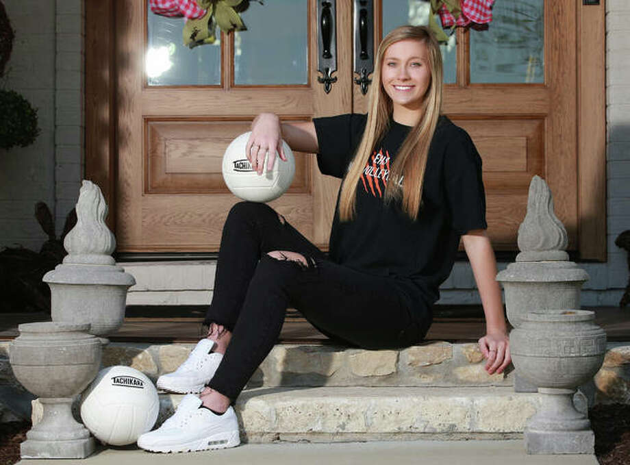 Edwardsville senior Maddie Isringhausen is the 2019 Telegraph Large-Schools Girls Volleyball Player of the Year. Isringhausen, the daughter of St. Louis Cardinals Hall of Famer Jason Isringhausen, will play Division I college volleyball at Tennessee Tech. Photo: Billy Hurst / For The Telegraph