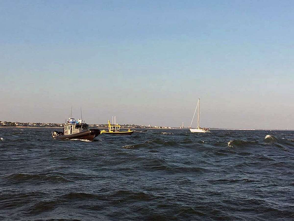 The Westport Police Department's Marine Unit provided assistance to the Fairfield Police Department's Marine Officers off Southport, Conn. shores for a sailboat rescue on Monday, Sept. 4, 2017.