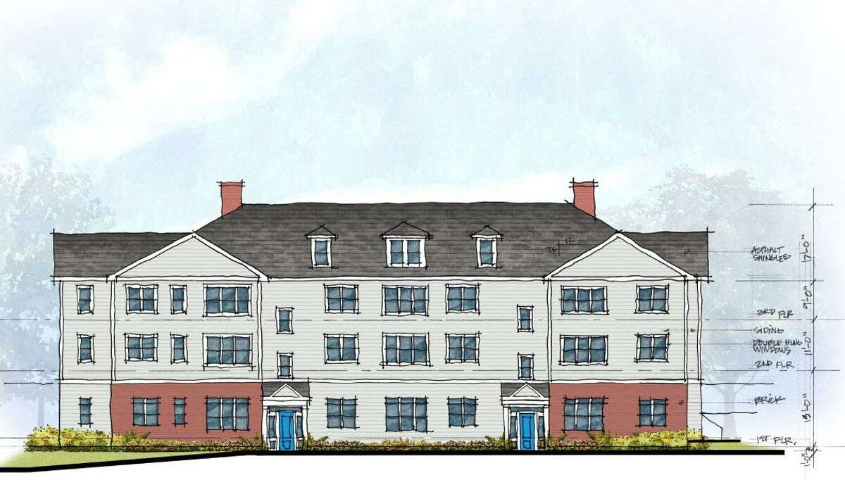 Proposed exterior elevation for 17 apartments at 3 Hubbard Road in Wilton. The plan, originally submitted to the town in Jaunuary 2020, has since been withdrawn.