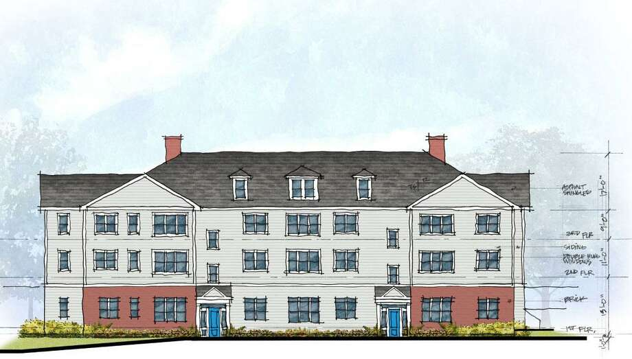 Proposed exterior elevation for 17 apartments at 3 Hubbard Road in Wilton. The plan, originally submitted to the town in Jaunuary 2020, has since been withdrawn. Photo: Crosskey Architects