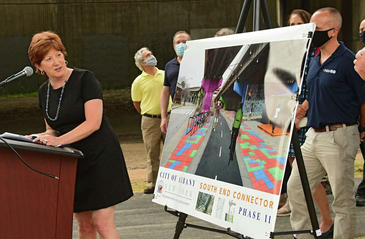 Mayor Kathy Sheehan joins state and local partners to highlight the substantial completion of Phase One of the South End Connector on Tuesday, July 7, 2020 in Albany, N.Y. The South End Connector is the connection between the Albany County Helderberg-Hudson Rail Trail and the Mohawk Hudson Hike-Bike Trail. (Lori Van Buren/Times Union)