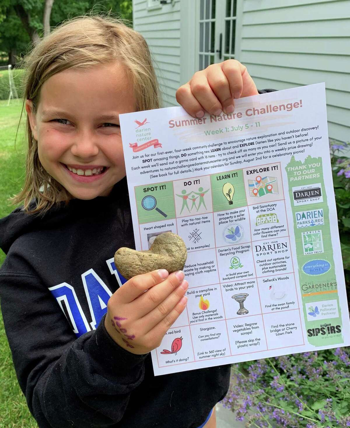 Neve Judelson is doing the summer challenge. Darien Nature Center is partnering with other community organizations and businesses to hold a fun summer challenge for the community.