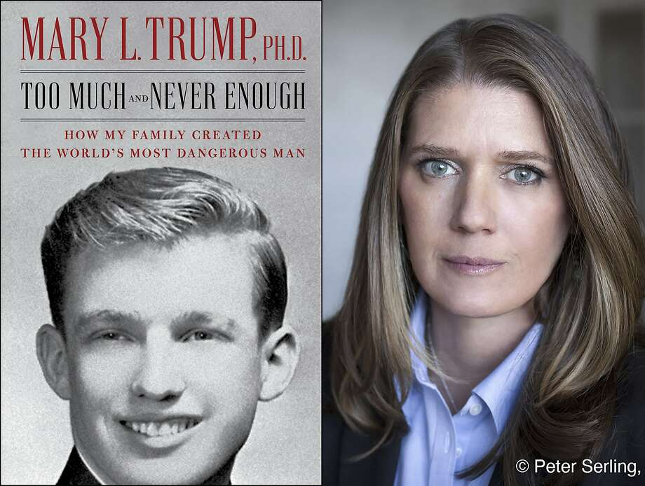"""This combination photo shows the cover art for """"Too Much and Never Enough: How My Family Created the World's Most Dangerous Man"""", left, and a portrait of author Mary L. Trump, Ph.D. The book, written by the niece of President Donald J. Trump, was originally set for release on July 28, but will now arrive on July 14. (Simon & Schuster, left, and Peter Serling/Simon & Schuster via AP) Photo: Associated Press"""