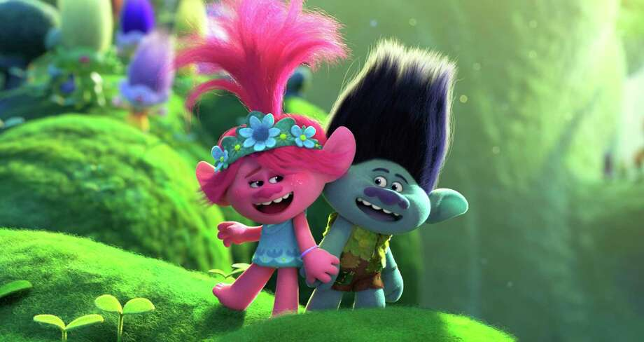 "Poppy (voice of Anna Kendrick) and Branch (Justin Timberlake) have to face the music in ""Trolls World Tour."" Photo: DreamWorks Animation / © 2020 DreamWorks Animation LLC. All Rights Reserved."
