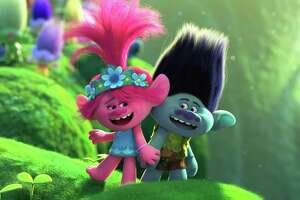 "Poppy (voice of Anna Kendrick) and Branch (Justin Timberlake) have to face the music in ""Trolls World Tour."""
