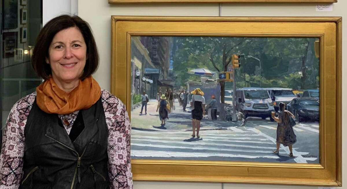 Ridgefield artist Randi Davis poses with her Great American Paint In submission.