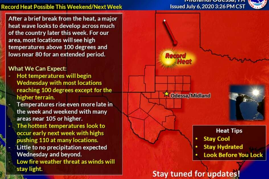 The National Weather Service reported Tuesday that every day of the seven-day forecast shows high temperatures in the 100s - as high as 108 - and lows in the upper 70s.
