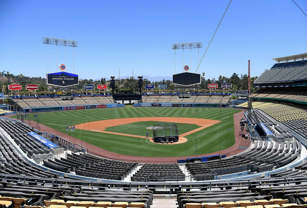 LOS ANGELES, CALIFORNIA - JULY 03: General view of the field at a Los Angeles Dodgers summer workout in preparation for a shortened MLB season during the coronavirus (COVID-19) pandemic at Dodger Stadium on July 03, 2020 in Los Angeles, California. (Photo by Harry How/Getty Images)