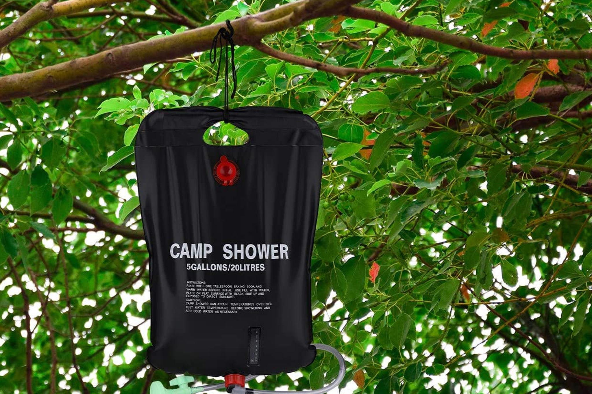 A solar-powered camp shower will make you want to shower in the woods