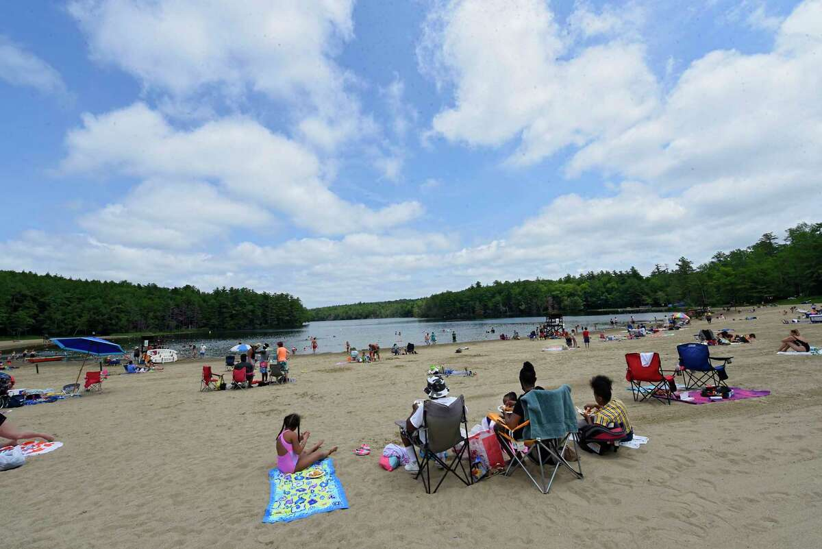 People seek relaxation at Grafton Lakes State Park beach on Tuesday, July 7, 2020 in Grafton, N.Y. (Lori Van Buren/Times Union)
