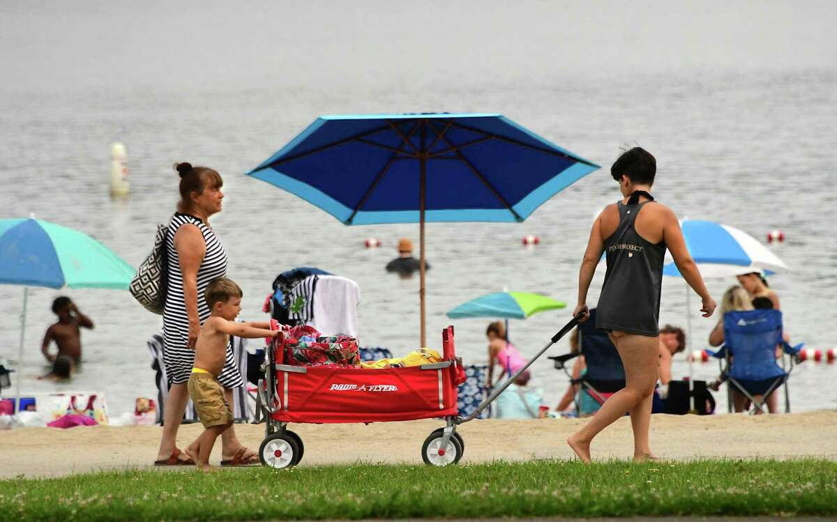 People enjoy cooling off in the fresh lake water at Grafton Lakes State Park beach on Tuesday, July 7, 2020 in Grafton, N.Y. New York will have a vaccination clinic at Grafton Lakes Memorial Day weekend 2021. (Lori Van Buren/Times Union)