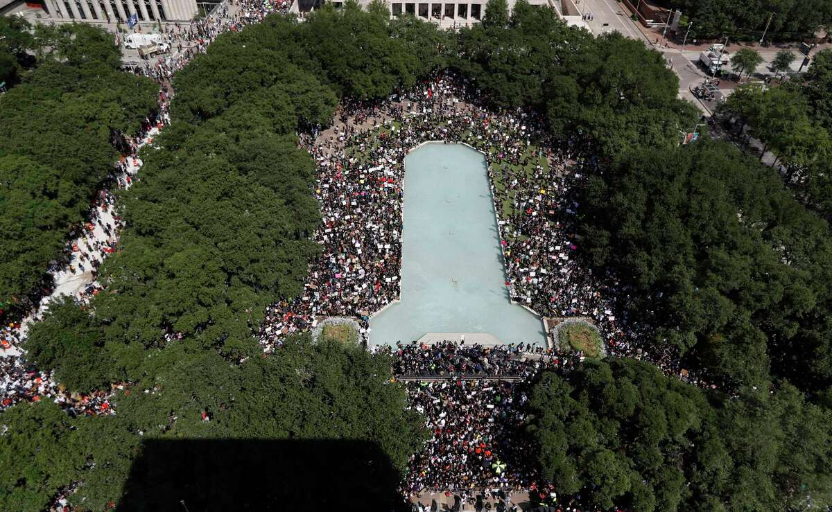 Aerial shot of the George Floyd protest at Houston's City Hall