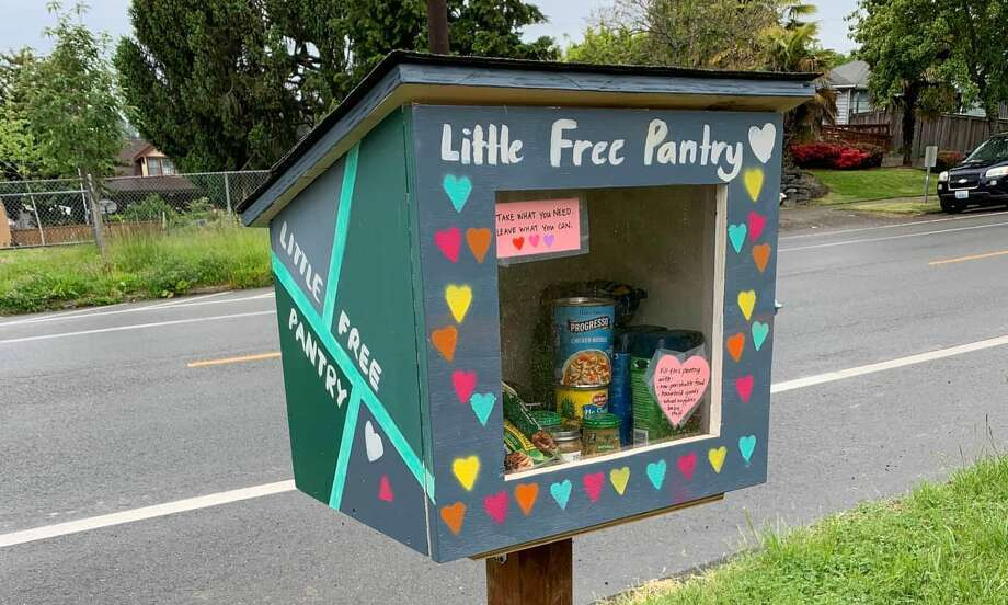 A Little Free Pantry is stocked with non-perishable food. Photo: Courtesy Molly Harmon/Little Free Pantry