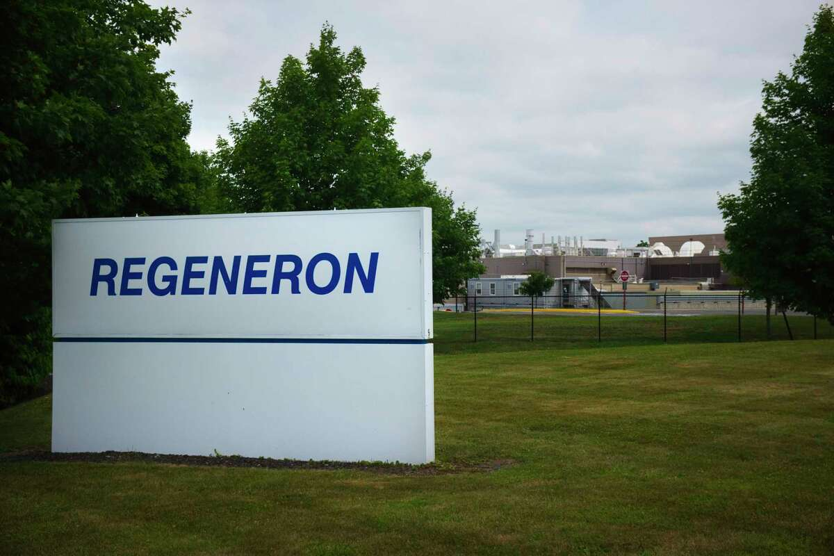 A view of the Regeneron plant on Tuesday, July 7, 2020, in Rensselaer, N.Y. (Paul Buckowski/Times Union)