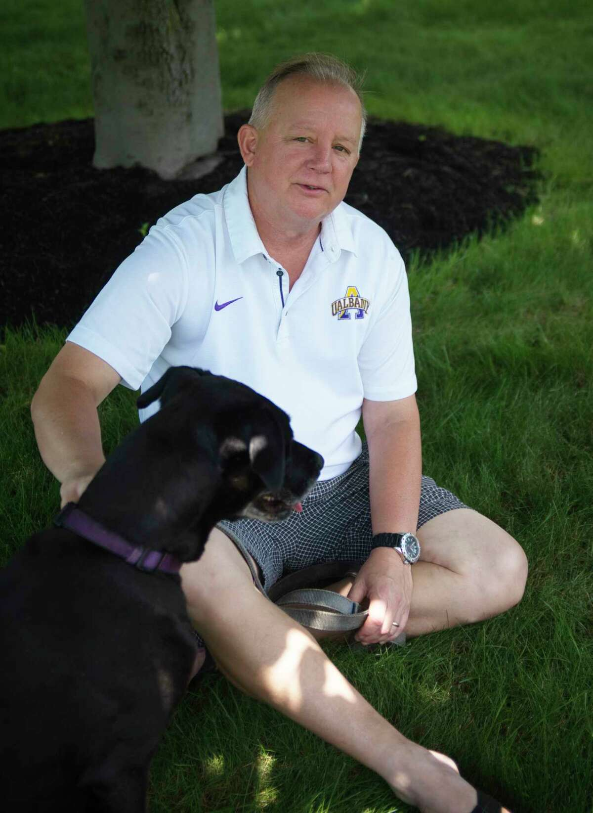 Times Union columnist and Writers Institute Director Paul Grondahl with his dog Lily on Tuesday, July 7, 2020, in Guilderland, N.Y. (Paul Buckowski/Times Union)