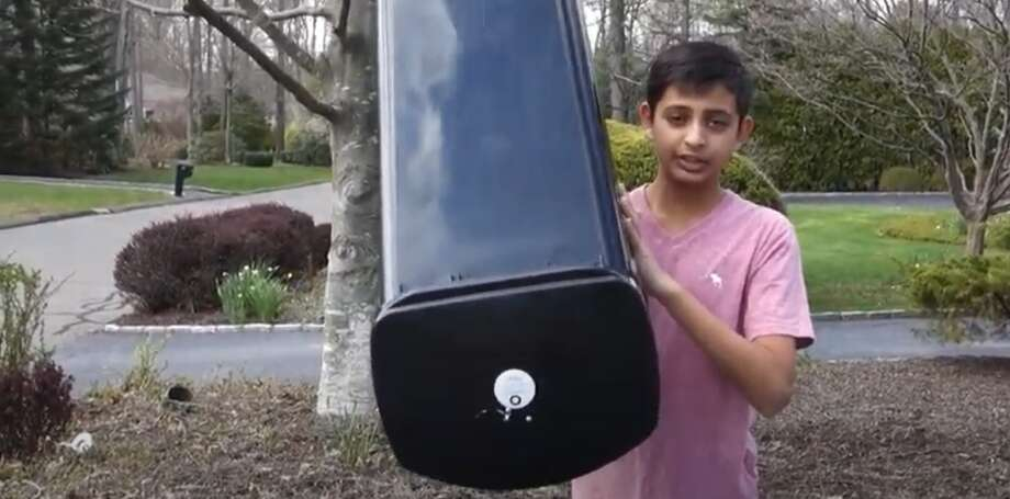 Shelton's Krishiv Patel shows off his invention in a screen grab taken from his video submission to the Wilmerhale Patent Application Award. Photo: YouTube