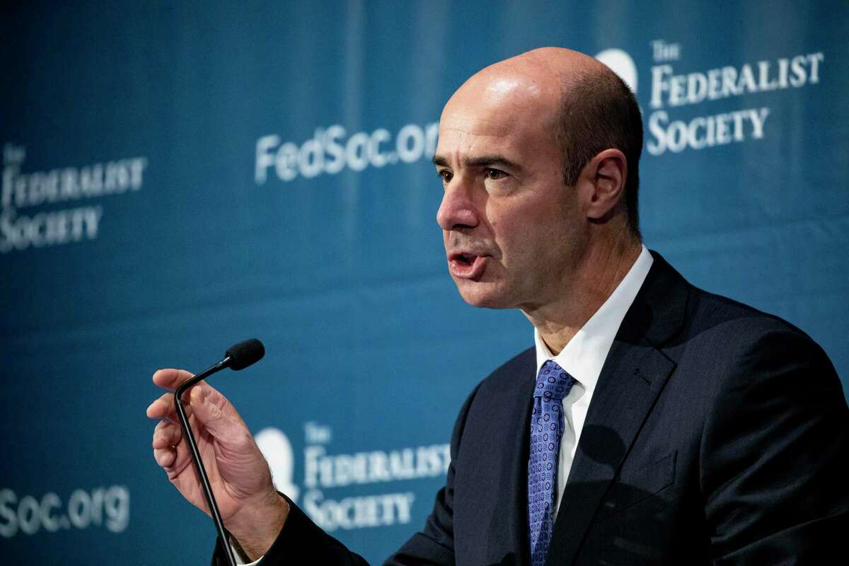 Secretary of Labor Eugene Scalia speaks during the Federalist Society's 2019 National Lawyers Convention in Washington. The Labor Department has proposed a rule that could discourage retirement funds from making investments based on environmental, social and governance considerations.