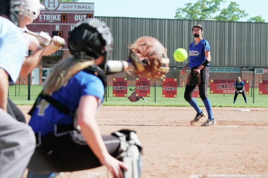 Onekama's Sophie Wisniski throws a pitch. Softball and baseball teams could take to the field earlier than expected if the MHSAA decides to play spring sports in the fall. (News advocate file photo)
