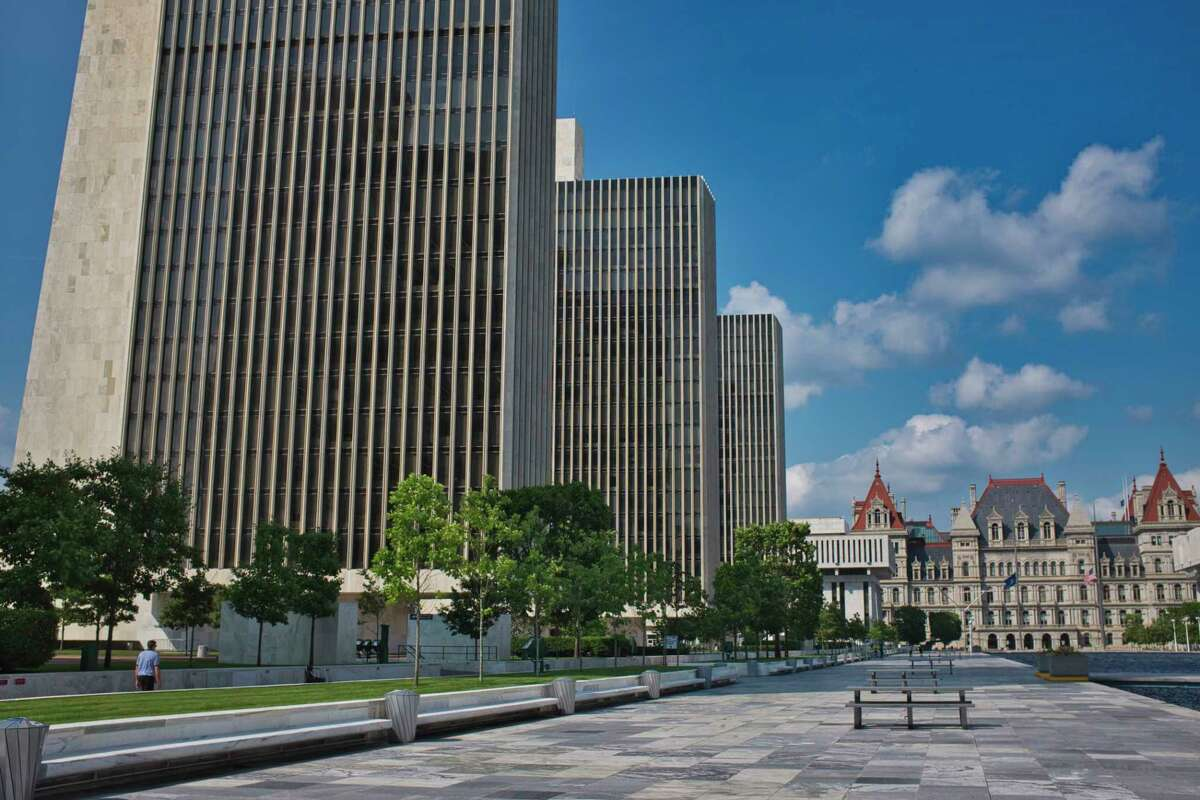 A view of New York State agency buildings at the Empire State Plaza and the state capitol building on Tuesday, July 7, 2020, in Albany, N.Y. (Paul Buckowski/Times Union)