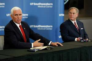 Vice President Mike Pence and Gov. Greg Abbott meet June 28 in Dallas. Following the administration, GOP governors waved away warnings about slack reopenings and invited the virus in.