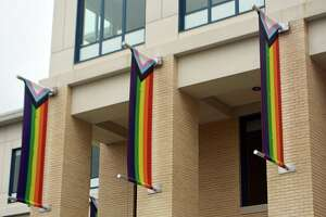 The Community Health Center on the corner of Grand and Main streets in Middletown displaysLGBTQIA flags.
