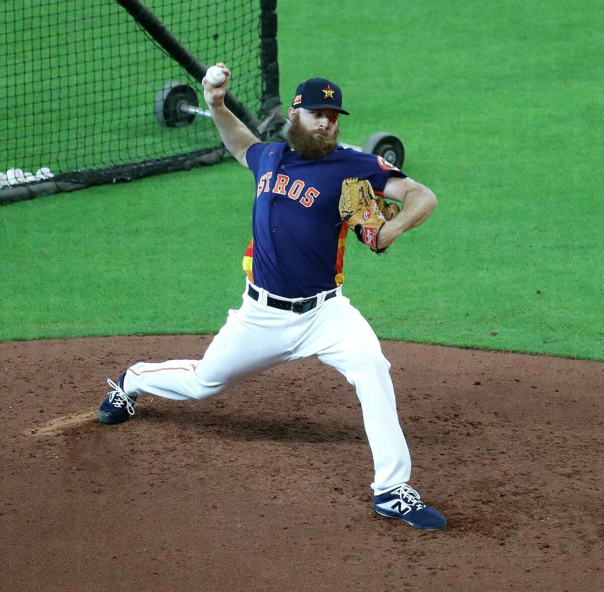 Houston Astros pitcher Cy Sneed pitches a live batting practice session during the Astros summer camp at Minute Maid Park, Tuesday, July 7, 2020, in Houston.