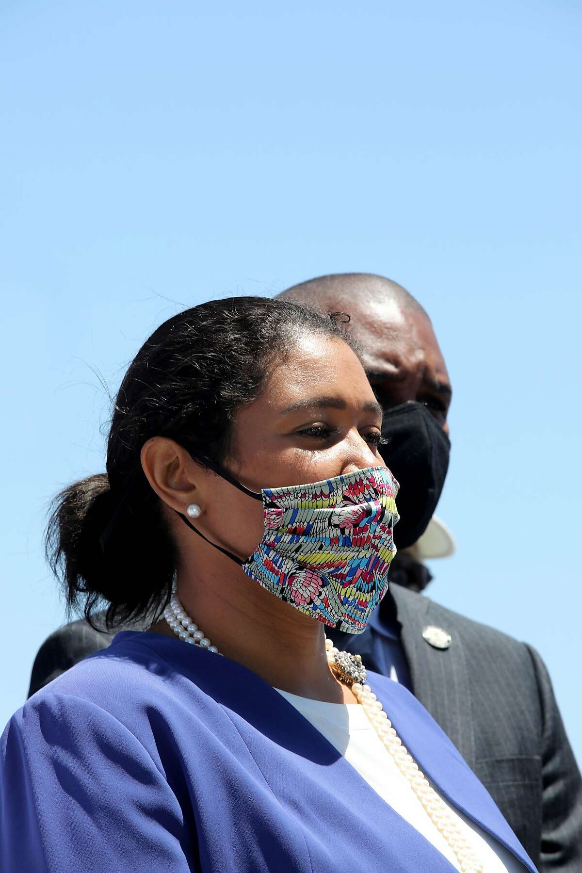 San Francisco Mayor London Breed attends a press conference at Agua Vista Park in San Francisco, Calif., on Tuesday, July 7, 2020.