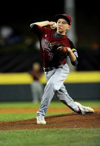 Eddie Magi throws a pitch during Tuesday's game in the Little League World Series in Williamsport, Pennsylvania. Photo: Lindsay Niegelberg / Connecticut Post
