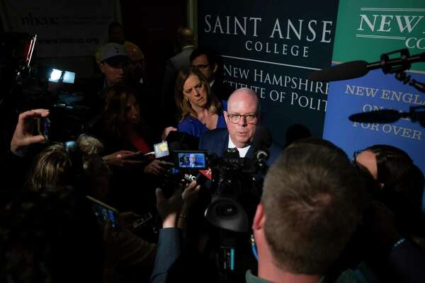 Maryland Gov. Larry Hogan, a Republican, visits the New Hampshire Institute of Politics in 2018.