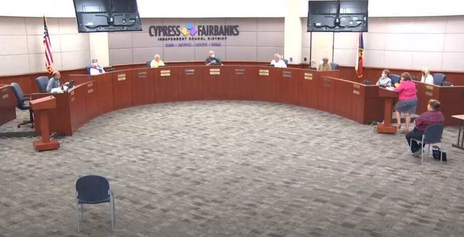 Cy-Fair ISD board of trustees met for a special meeting where Karen Fuller, Superintendent Mark Henry, Linda Macias and Karen Smith discussed more details on how the school district will proceed on July 7, 2020. Photo: Cy-Fair ISD