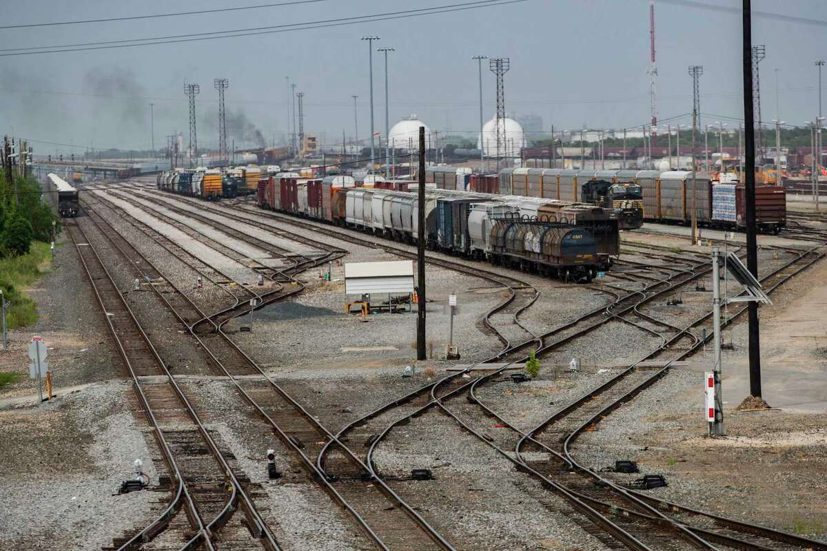 View of the railway tracks from the corner of Lockwood Drive and Liberty Road looking northeast on Tuesday, July 7, 2020, in Houston.