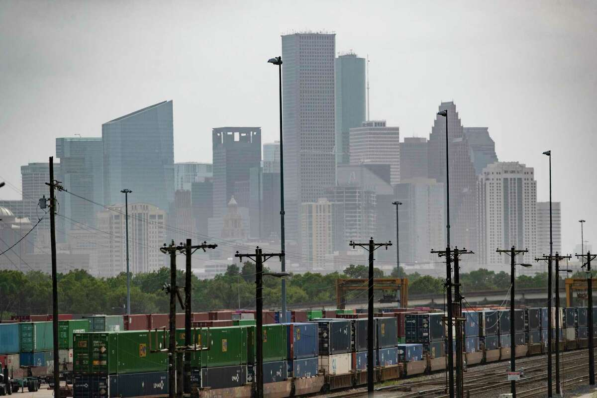 View of the railway tracks from the corner of Lockwood Drive and Liberty Road looking southwest on Tuesday, July 7, 2020, in Houston.