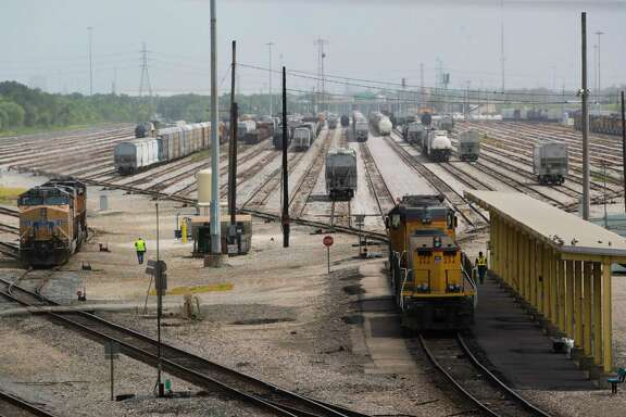 View of the railway tracks looking south from Ley Road on Tuesday, July 7, 2020, in Houston.